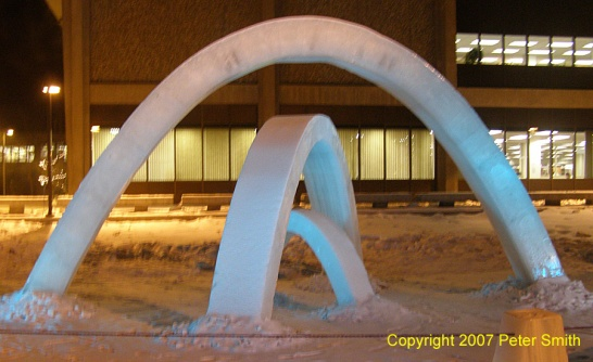 Three snow arches at the Universtiy of Alaska Fairbanks campus during the winter in early 2007.
