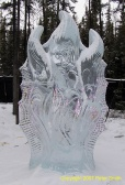 A Goblin type ice sculpture at the Ice Art Competition in Fairbanks, Alaska.