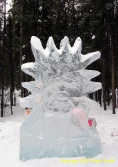 A face with sun rays at the Ice Art Competition in Fairbanks, Alaska.