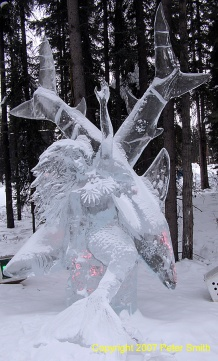 An sculpture of ice sharks at the Ice Art Competition in Fairbanks, Alaska in winter 2007.