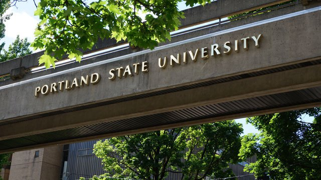 This is a sign for Portland State University in Portland, OR.